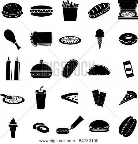 fast food symbols set