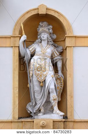GRAZ, AUSTRIA - JANUARY 10, 2015: Minerva, Roman goddess of wisdom and sponsor of arts, trade, and strategy, Arsenal (Zeughaus) historic center listed as World Heritage by UNESCO in Graz