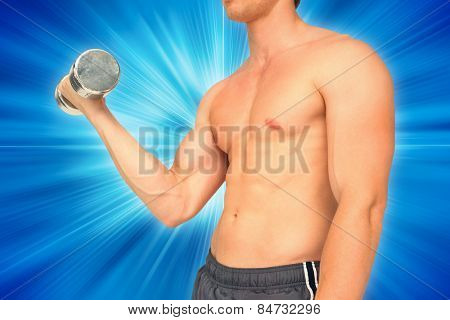 Strong man lifting dumbbell with no shirt on against abstract background