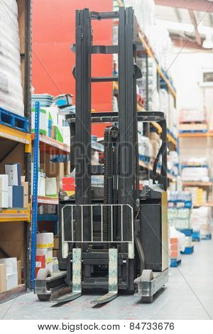 Close up of forklift machine in warehouse