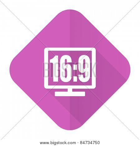 16 9 display pink flat icon