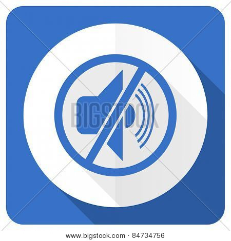 mute blue flat icon silence sign