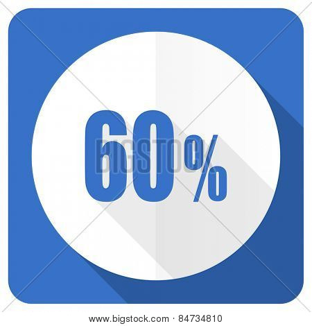 60 percent blue flat icon sale sign