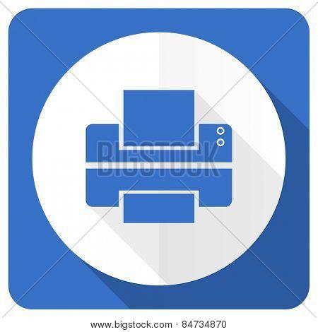 printer blue flat icon print sign
