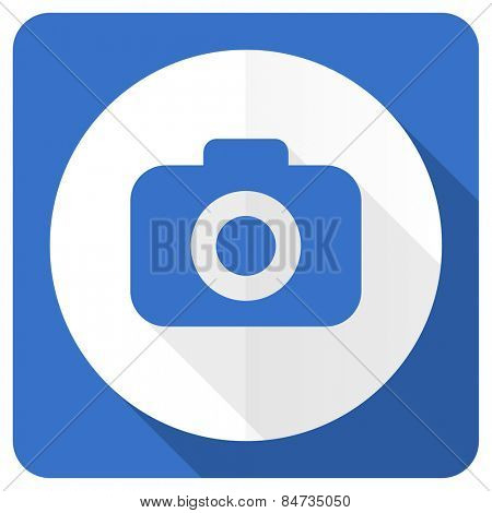 photo camera blue flat icon photography sign