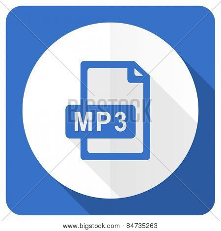 mp3 file blue flat icon