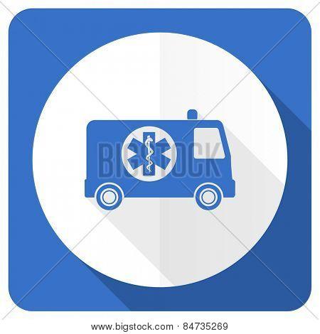 ambulance blue flat icon