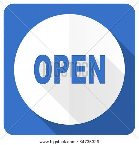 open blue flat icon