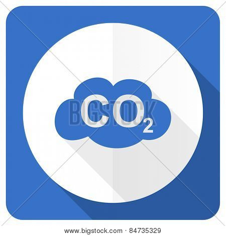carbon dioxide blue flat icon co2 sign