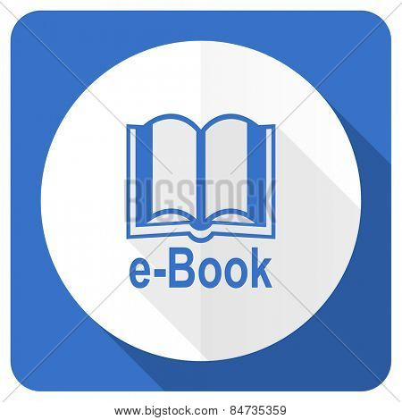 book blue flat icon e-book sign