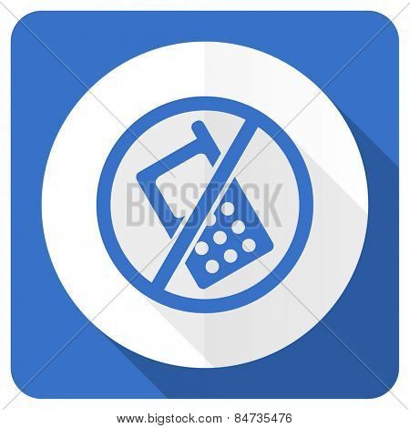 no phone blue flat icon no calls sign
