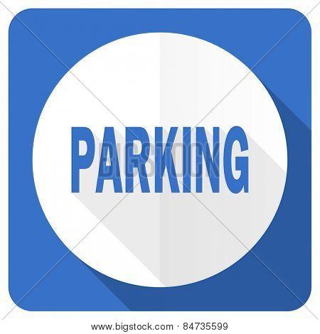 parking blue flat icon