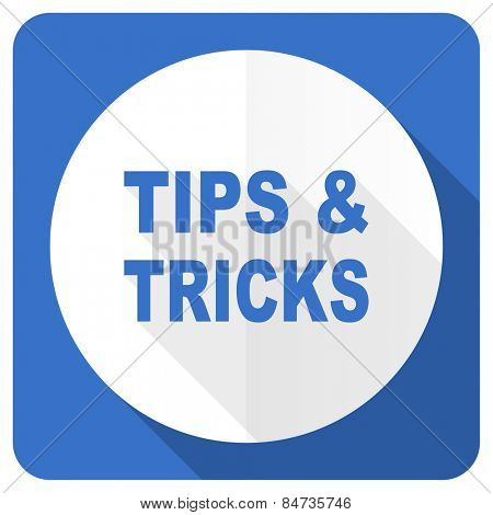 tips tricks blue flat icon