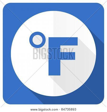fahrenheit blue flat icon temperature unit sign