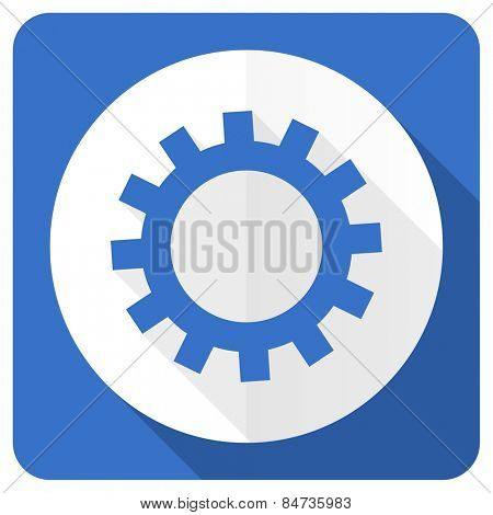 gears blue flat icon options sign