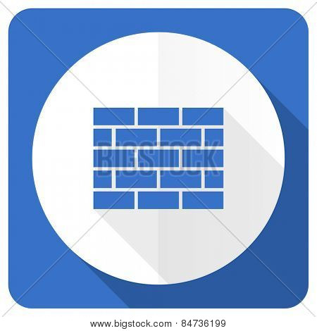 firewall blue flat icon brick wall sign