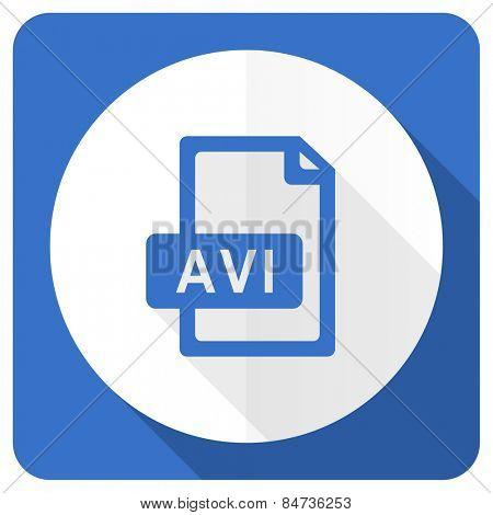 avi file blue flat icon