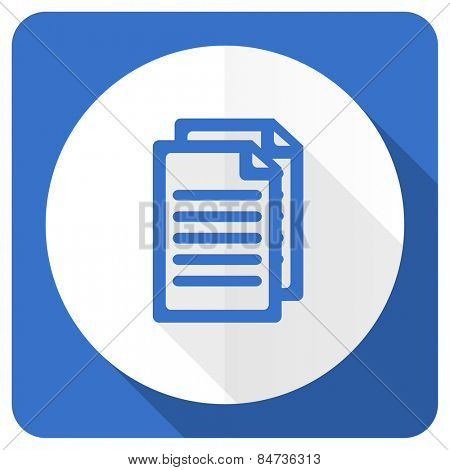 document blue flat icon pages sign