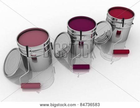 Open buckets with color paint and rollers
