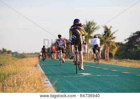 Thailand,bangkok-may24 :unidentifies People Riding Road Bicycle In Suvarnabhumi Airport Bicycle Trac
