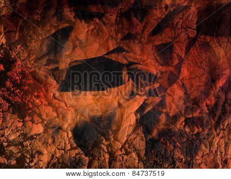 art grunge vintage textured abstract background - orange crumpled paper