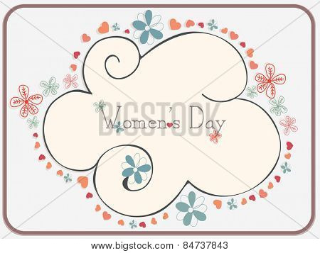 International Women's Day celebration greeting card decorated by hearts and flowers.