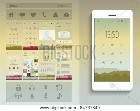 A complete presentation of web layouts for user interface with smart phone presentation.