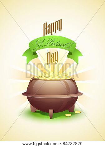 Creative greeting card design with glossy pot full of gold coins on rays background.