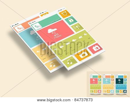 Creative mobile screen presentation with different application and multiple color choice.