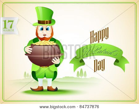 Creative poster or banner design with leprechaun holding gold coins pot on nature background.