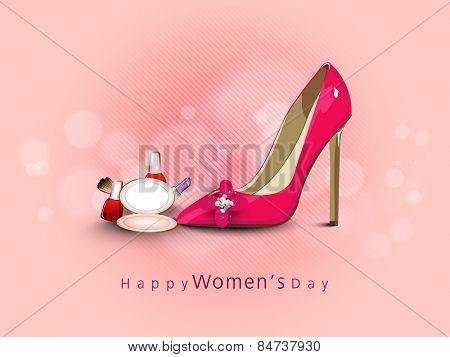 International Women's Day celebration with glossy ladies shoe and cosmetic products on pink background.