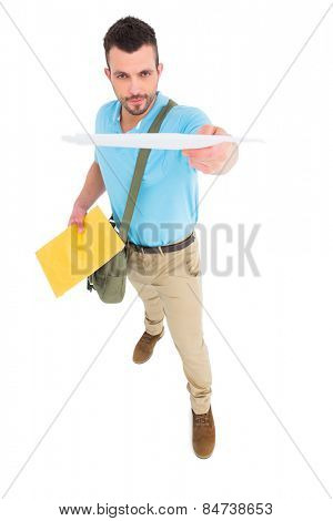 Postman with letter on white background