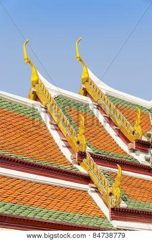 Bangkok, Thailand - Royal Palace and Wat Phra Kaeo Complex  - decorative roof