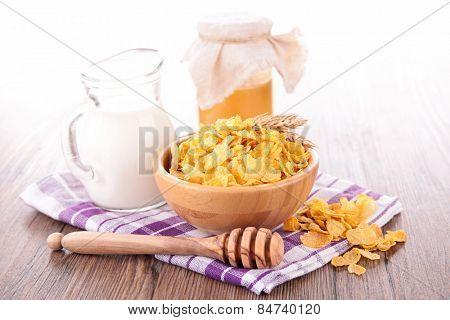 cornflakes, milk and honey