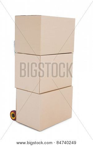 Trolley of boxes on white background