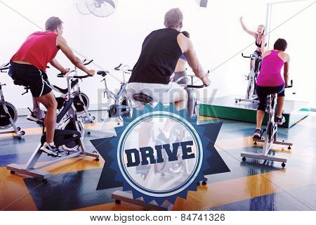 The word drive and spin class working out with motivational instructor against badge