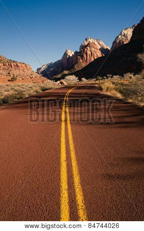 Red Asphalt Roadway Redrock Canyon Utah Backroads