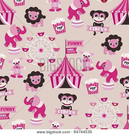 Seamless girls circus animals theme elephant clown monkey and ferris wheel illustration background pattern in vector