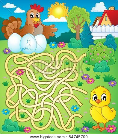 Maze 4 with hen and chicken - eps10 vector illustration.