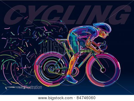 Professional cyclist involved in a bike race. Vector artwork in the style of paint strokes.