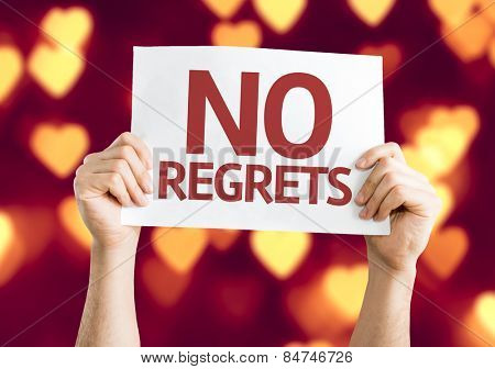 No Regrets card with heart bokeh background