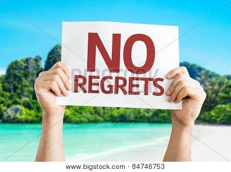 No Regrets card with beach background