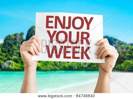 Enjoy Your Week card with beach background