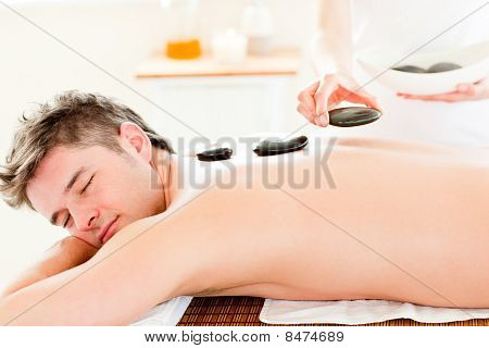 Handsome Young Man Receiving A Back Massage