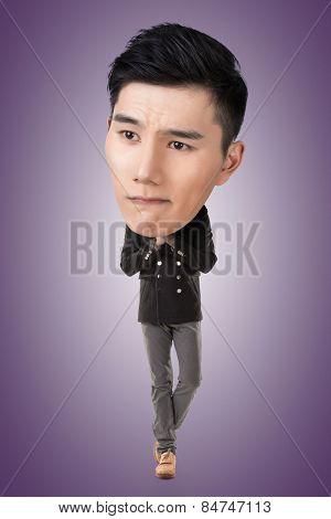 Funny Asian big head man, full length portrait.