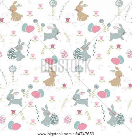 seamless easter pattern with bunnies and eggs