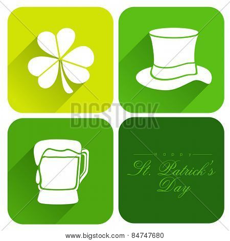 Creative sticker, tag or label design with St. Patrick's Day ornaments on white background.