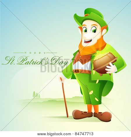 Happy leprechaun holding gold coins pot on nature background for St. Patrick's Day celebration
