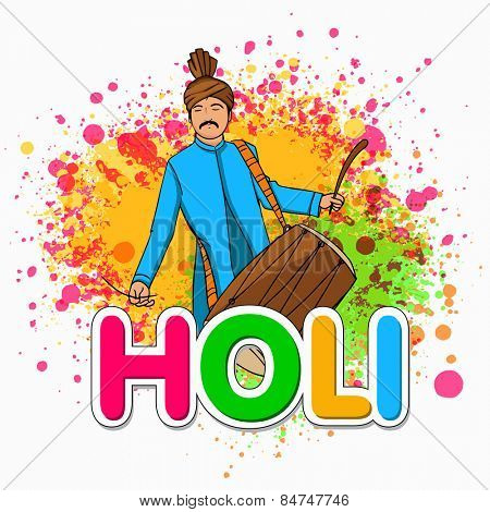Young Indian man in traditional outfits playing drum on colorful splash background for Indian festival, Holi celebration.