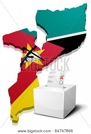 detailed illustration of a ballotbox in front of a map of Mozambique, eps10 vector
